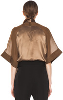 Givenchy Satin Tie Neck Blouse in Multi