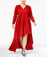 Monif C Trendy Plus Size High-Low Crepe Dress