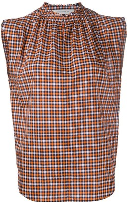 Cédric Charlier Check Print Sleeveless Blouse