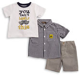 Nannette Baby Boys Baby Boys Three-Piece Gingham Shirt, Tee and Shorts Set