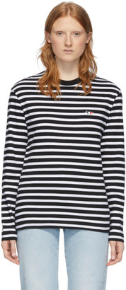 MAISON KITSUNÉ Black and White Striped T-Shirt