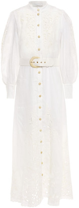 Zimmermann Peggy Belted Broderie Anglaise Linen Maxi Dress