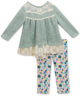 Rare Editions 2-Pc. Lace-Trim Sweater and Floral-Print Leggings Set, Baby Girls (0-24 months)