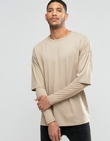 Asos Oversized Long Sleeve T-shirt With Rib Double Layer Sleeves In Beige