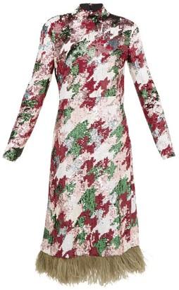 La DoubleJ Gala Feather-trimmed Sequinned Midi Dress - Womens - Multi