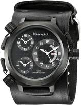 Nemesis Men's KIN080KK Signature 3-TimeZone All Leather Band Watch