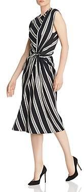 Narciso Rodriguez Striped Twist Detail Wool-Blend Dress
