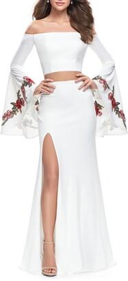 La Femme Off the Shoulder Long Sleeve Two-Piece Gown