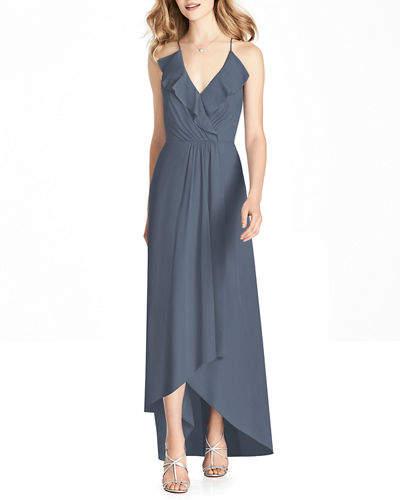 Jenny Packham Bridesmaids V-Neck Cross-Back High-Low Chiffon Bridesmaid Dress w/ Ruffle-Trim