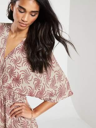 Very Shirred Waist Wrap Casual Kimono Dress - Print
