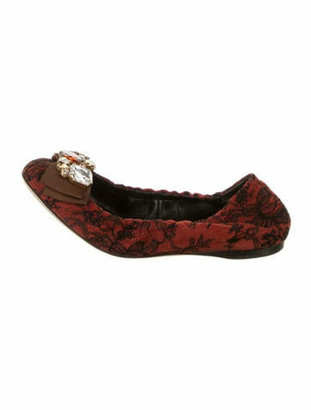 Dolce & Gabbana Lace Pattern Crystal Embellishments Ballet Flats Red