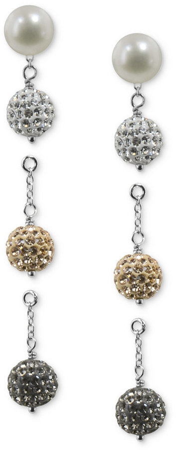 Honora Style Cultured Freshwater Pearl (8mm) and Crystal Interchangeable Earring Set in Sterling Silver