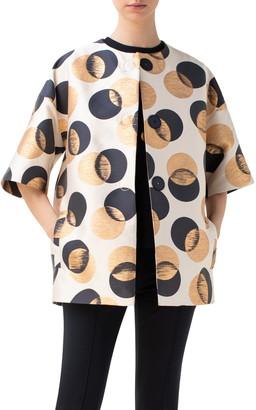 Akris Punto Gold Leaf Dot Car Coat