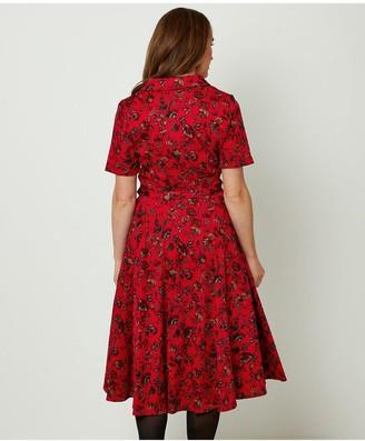Joe Browns Pretty Printed Shirt Dress - Red