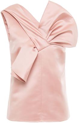 Victoria Victoria Beckham One-shoulder Bow-embellished Duchesse-satin Top