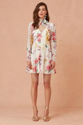 Keepsake ABOUT US LONG SLEEVE MINI DRESS creme botanic floral