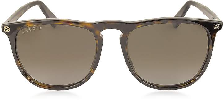 Gucci GG0120S 006 Havana Acetate Rounded Square Men's Polarized Sunglasses