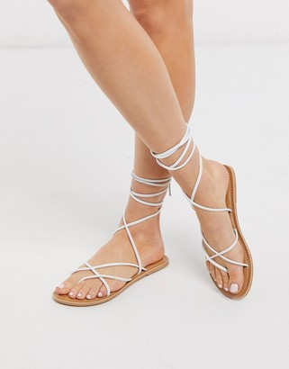 Rule London leather strappy tie leg sandals in white