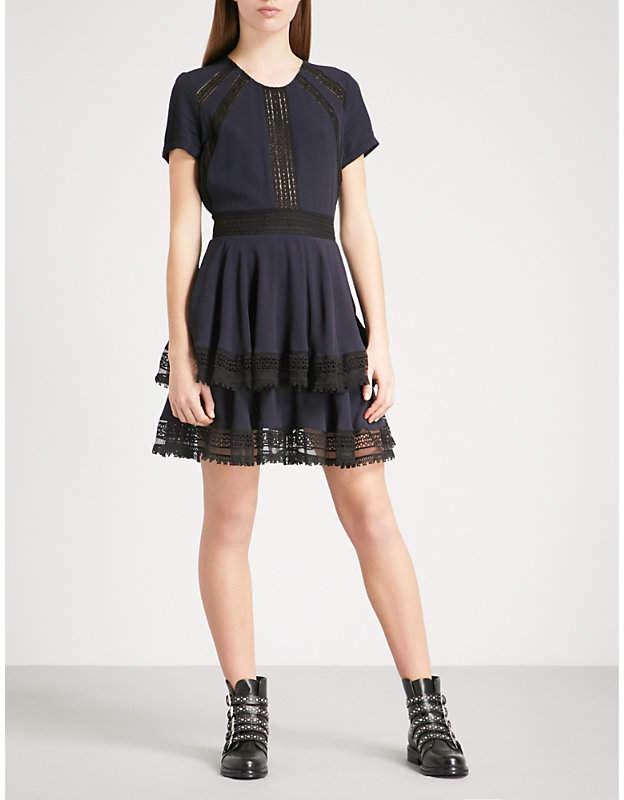 Maje Raglia crepe and lace dress