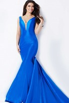 Jovani Sleeveless Illusion V Neckline Long Taffeta Mermaid Dress 32515