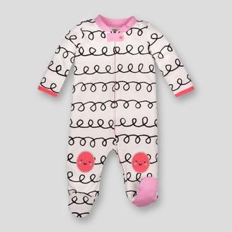 Lamaze Baby Girl' Organic Cotton Curly tripe Print Zip leep 'N Play - 6M