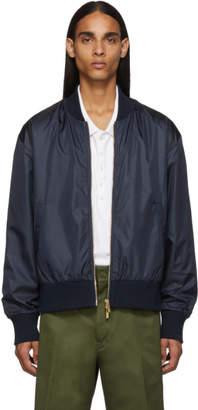 Thom Browne Navy Ripstop Center-Back Stripe Bomber Jacket