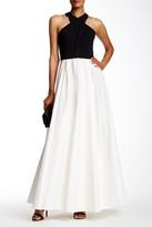 Carmen Marc Valvo Colorblock Gown
