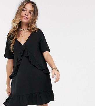 ASOS DESIGN Petite v front frill seam smock dress in black