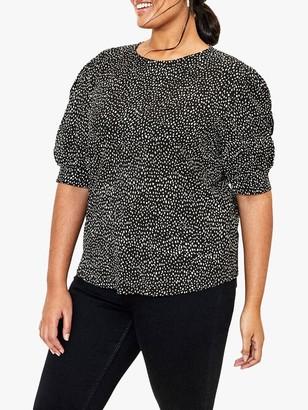 Oasis Curve Spot Print Blouse, Black/White