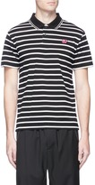 McQ by Alexander McQueen Swallow skull patch stripe cotton polo shirt