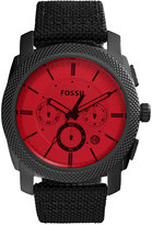 Fossil Men's Chronograph Machine Black Nylon and Leather Strap Watch 45mm FS5235