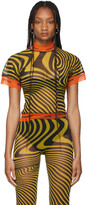 Thumbnail for your product : Jean Paul Gaultier SSENSE Exclusive Yellow Ottolinger Edition Tulle Striped T-Shirt