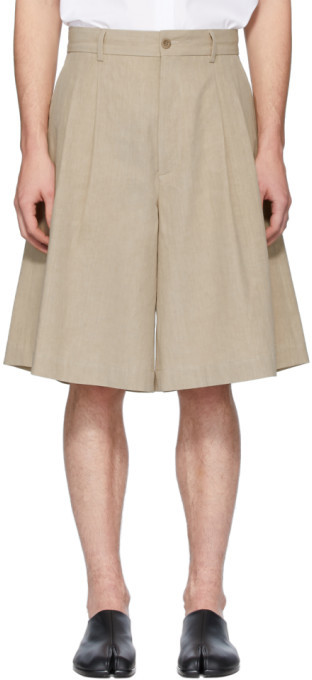 Maison Margiela Beige Linen Cloth Shorts