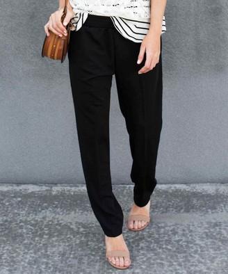 Contagious Women's Dress Pants Black - Black Elastic-Waist Pants - Women