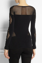 McQ by Alexander McQueen Mesh-paneled stretch-jersey top