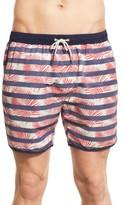Scotch & Soda Men's Tropical Stripe Print Swim Trunks