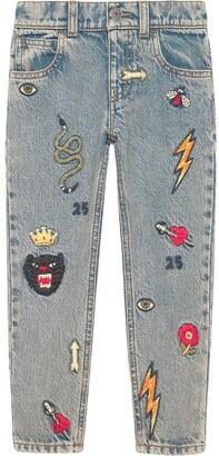 Gucci Kids Children's embroidered denim pants
