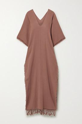 CARAVANA Saas Fringed Cotton-gauze Maxi Dress - Brick