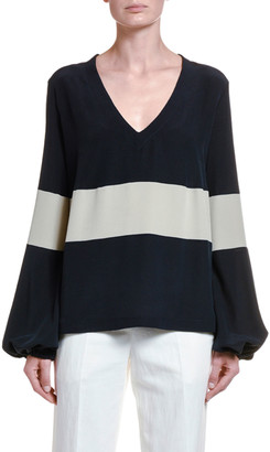 Giorgio Armani Nautical Striped Silk Poet-Sleeve Blouse