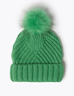 Marks and Spencer Knitted Faux Fur Bobble Beanie Hat