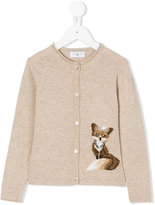 MonnaLisa embellished fox motif knitted cardigan - kids - Polyamide/Viscose/Cashmere/Wool - 2 yrs