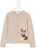 MonnaLisa embellished fox motif knitted cardigan