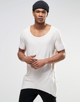 Asos Super Longline T-Shirt With Raw Scoop Neck And Pointed Hem In Off White