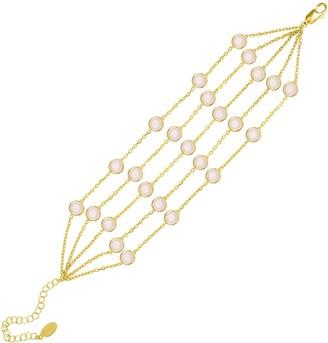 Latelita Naples Statement Gemstone Bracelet Gold Rose Quartz