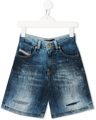 Diesel stonewashed distressed denim shorts