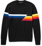 Rag & Bone Glitch Intarsia Cotton Sweater - Black