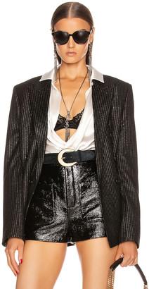 Saint Laurent Pinstripe Double Breasted Jacket in Black | FWRD