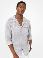 Michael Kors Striped Linen Hooded Shirt