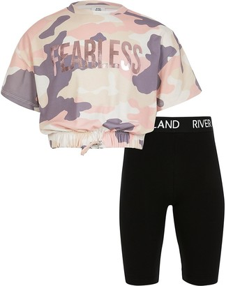 River Island Girls pink camo print t-shirt outfit