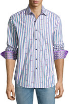 Robert Graham Saguaro Long-Sleeve Sport Shirt, Purple